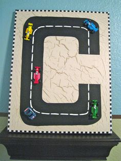 Wall Letter C Canvas Boys ART Race Car Track 3D GLOW in the DARK Personalized. $20.00, via Etsy.