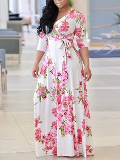 Sexy V Neck Robe Dress Half Sleeve Floral Long Dress Beach Maxi Dress – KjSelections Beach Dresses, Casual Dresses, Dress Beach, Hijab Casual, Maxi Dresses, African Fashion Dresses, Fashion Outfits, Women's Fashion, African Dress