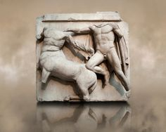 Sculpture of Lapiths and Centaurs battling from the Metope of the Parthenon on the Acropolis of Athens No III. Also known as the Elgin marbles. Parthenon Frieze, Parthenon Athens, Classical Greece, Classical Art, Elgin Marbles, Greek Culture, Minoan, Horse Sculpture, Greek Art