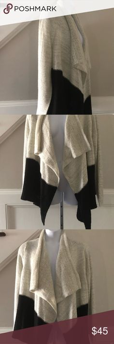 Torrid drape ombré soft sweater open cardigan  2X Gorgeous ivory and black drape open cardigan knit sweater; size 2X; Excellent Preowned Condition torrid Sweaters Cardigans