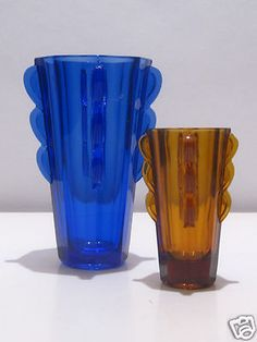 """ANTIQUE PAIR 1930s ART DECO SOWERBY COBALT & AMBER """"EARED"""" PRESSED GLASS VASES"""