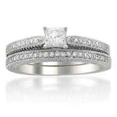 @Overstock.com - 14k Gold 5/8ct TDW Princess-cut Diamond Bridal Ring Set (H-I, SI2-SI3) - Princess-cut white diamond bridal ring set14-karat white gold jewelryClick here for ring sizing guide  http://www.overstock.com/Jewelry-Watches/14k-Gold-5-8ct-TDW-Princess-cut-Diamond-Bridal-Ring-Set-H-I-SI2-SI3/8019538/product.html?CID=214117 $999.99