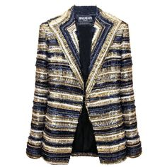 BALMAIN Stripe Jacket Swarovski (557 130 UAH) ❤ liked on Polyvore featuring outerwear, jackets, blazers, coats & jackets, balmain, women, colorful jackets, open front jacket, multi colored blazer and blazer jacket