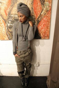I like this overall look a lot; I'd go without the turban though. Fashion Moda, Look Fashion, Autumn Fashion, Street Fashion, Looks Style, Style Me, Grunge Hipster, Punk Mode, Afro Punk Fashion