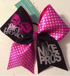 35589801cf Bows by April - Big Bows and Nike Pros Pink Holo Dot and Black Glitter  Cheer Bow