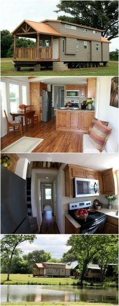 399 Square Foot Tiny House at Vintage Grace Community in Yantis, Texas - Vintage Grace Tiny Home Community was started by a couple wanting a lifestyle in a beautiful setting with a close-knit community with a simple, debt-free way of life. The outcome of their dream is a beautiful place with luxurious tiny house plans like the one we're about to share with you. This model has 399 square feet, sells for $59,900 and can be placed on any of their open sites, perhaps even by a peaceful pond!