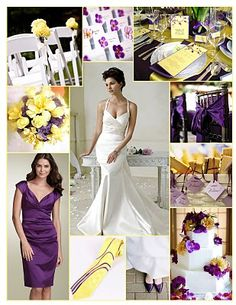 Purple and yellow colour scheme for spring/summer wedding