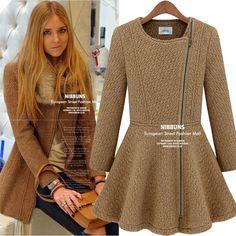 2016 Hitz europeus e americanos moda feminina oblíqua zíper temperamento aristocrático em torno do pescoço fino mulheres jaqueta casaco de lã