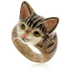 Designer Clothes, Shoes & Bags for Women Cat Jewelry, Jewelry Rings, Cat Merchandise, Grey Tabby Cats, Cat Ring, Animal Rings, Porcelain Jewelry, Cat Lady, My Design