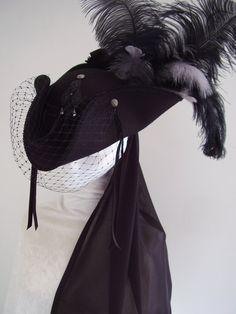 Neo 18th Century Black Tricorn riding hat 'The Lady by Blackpin, £90.00