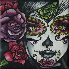 Day of the Dead Art Rockabilly Pin Up girl Hair Dia De Los Muertos Lowbrow Tattoo art Print 8 by 8 via Etsy Love her eyes by Jessica Bice Sugar Skull Mädchen, Sugar Skull Tattoos, Rockabilly Pin Up, Rockabilly Artwork, Los Muertos Tattoo, Day Of The Dead Girl, Catrina Tattoo, Et Tattoo, Tattoo Art