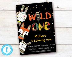 Tribal Wild One First Birthday Invitation Boho Woodland Animals Boy Party Instant Download Printable Template Editable YOU PRINT Turning One, First Birthday Invitations, Wild Ones, Woodland Animals, Party Printables, Birthday Celebration, First Birthdays, Rsvp, Printable Templates
