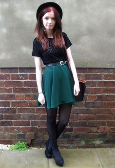 Green circle skirt with black top From LOOKBOOK