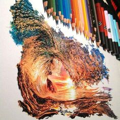 Realistic wave drawing using colored pencils. Amazing Drawings, Realistic Drawings, Amazing Art, Amazing Photos, Detailed Drawings, Interesting Photos, Wave Drawing, Painting & Drawing, Colour Drawing