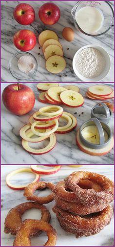 DIY Fried Cinnamon Apple Ring Dessert Appetizer #Recipe => http://www.fabartdiy.com/how-to-diy-fried-cinnamon-apple-ring/