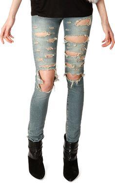 Saint Laurent Sint Lurent Distressed Skinny 5-Pocket Jeans on shopstyle.com