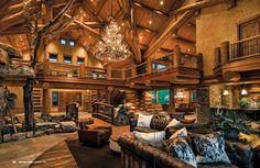 cabin - log - grand living room -Log Home Living-
