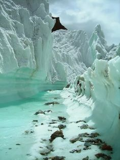 Glacier Stream Mountains Northern Pakistan