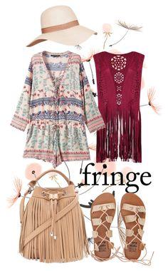 """floral festival fringe"" by kc-spangler ❤ liked on Polyvore featuring Chicnova Fashion, Billabong, CUSTO LINE, Forever 21, floral, fringe, festival and romper"