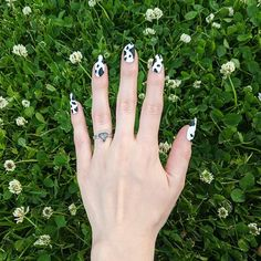 """Tori on Instagram: """"I tried the 🐄 nails trend. I am not sure if they are cow or Dalmatian nails but I like how they turned out anyway. I used @cirquecolors…"""" Fan Nails, Memento Mori, Nail Trends, Dalmatian, Cow, Nail Art, How To Make, Instagram, Dalmatians"""