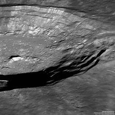The south rim of the Crater Aristarchus o the Moon, seen from 135 km up.