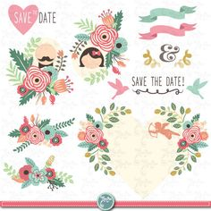 """Wedding Clipart pack """"WEDDING FLORAL"""" clip art,Vintage Flowers,Floral Frames,Wreath,Wedding, Save the date, invitation,Instant DownloadWd056 by YenzArtHaut on Etsy https://www.etsy.com/listing/199906721/wedding-clipart-pack-wedding-floral-clip"""