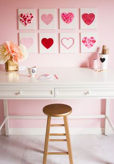 Make sweet Valentines Day heart art out of crafting odds and ends!