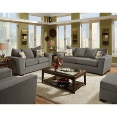 NFM - American Furniture 2-Piece Gray Microfiber Living Room Set