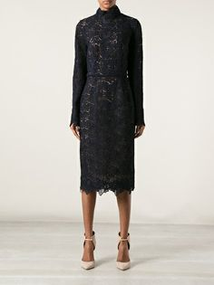 ZUHAIR MURAD - high collar floral lace gown