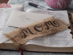 Custom Burlap Bookmark with Calligraphy Style by TheAfterPicture, $6.00