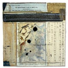 Crystal Neubauer Collage Season of Singing Mixed Media Abstract Art Salvaged Altered  10x10