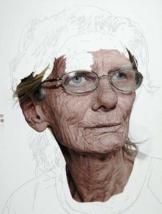 """Colin Chillag is a New York based artist who paints these incredible """"unfinished"""" photorealistic portraits of the elderly. - I find this work amazing - the stories these faces tell Art Painting, Hyperrealism, Fine Art, Photorealism, Art, Photorealistic Portraits, Portrait Art, Realistic Paintings, Detailed Paintings"""