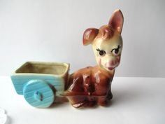 Sweet Vintage Ceramic Donkey and Cart Planter by jenscloset