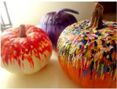 Melted crayons on a pumpkin