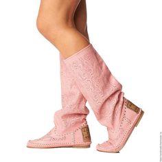 Обувь ручной работы. Ярмарка Мастеров - ручная работа. Купить Летние сапоги PIZZO  /розовые/ 41. Handmade. Бледно-розовый