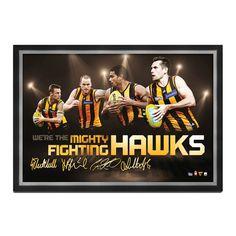 AFL Hawthorn Hawks Four Player Facsimile Signed Framed Sportsprint Sam Mitchell, Australian Football League, Action Images, Hawks, Framed Prints, Signs, Sports, Club, Unique