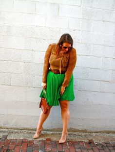 In Kinsey's Closet | Animal print + green pleats