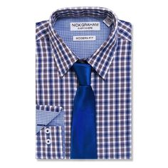 Men's Nick Graham Everywhere Modern-Fit Dress Shirt and Tie Boxed Set, Size: 2X-36/37, Blue