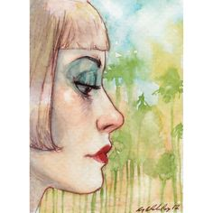 """Amy Abshier-Reyes -- """"In the Land Where the Sun's Always Shining"""", watercolor and ink on paper, 2012."""