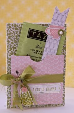 Sweet Tea Thank You Cards...made with a pocket to put a surprise packet of tea inside for someone special. By Kimberly Van Diepan: StampinByTheSea.