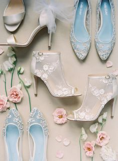 Gorgeous bridal heels and dainty wedding flats paired with soft pastel florals // Consider us under the spell of Bella Belle's idyllic spring editorial, shot entirely on film at the romantic Chateau Cocomar in Houston, Texas by Kurt Boomer. Known for their comfortable bridal shoes, the shoe brand has teamed up with Joy Proctor of Joy Proctor Design to create three pairs of wedding shoes inspired by three of the most important women in her life
