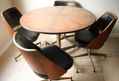 Mid Century Brody Bentwood Dining Set - Retro 1960s Kitchenette Set - Mad Men Eames Era Dining Table & Chairs
