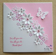 Hello everyone! Welcome to this weeks Cardz TV Challenge, featuring our amazing Cardz TV Card Designers! Birthday Cards For Women, Handmade Birthday Cards, Greeting Cards Handmade, Handmade Thank You Cards, Butterfly Cards, Flower Cards, Craftwork Cards, Embossed Cards, Card Making Inspiration