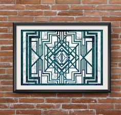 Art Deco Print: Modern Home Decor Emerald and Grey Marble