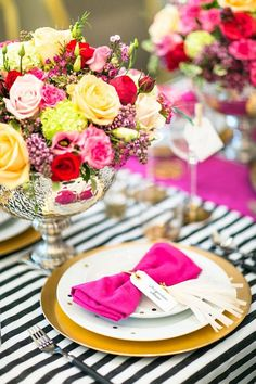 Bright Colors - baby shower...Stripes contrasting with bright colors