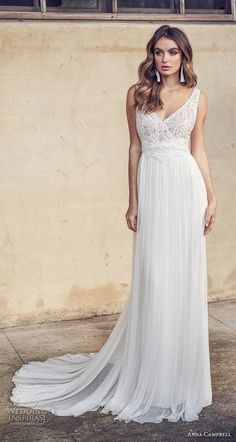 anna campbell 2019 bridal sleeveless with strap v neck heavily embellished bodice tulle skirt romantic soft a line wedding dress backless scoop back chapel train (15) mv -- Anna Campbell 2019 Wedding Dresses | Wedding Inspirasi #wedding #weddings #bridal #weddingdress #bride ~