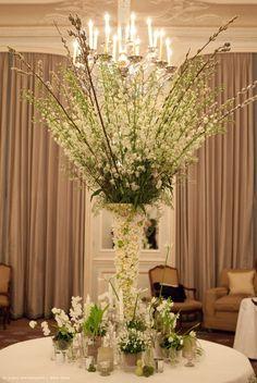Zita Elze Wedding Flowers at Claridge's - wedding breakfast centrepiece, living embroidery vase with white flowers - Photo: Lucy Davenport 489 c w_wm
