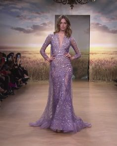 Stunning Embellished Purple Backless Mermaid Evening Dress / Evening Gown with Long Sleeves, Deep V-Neck Cut, Open Back and small Train. Spring Summer 2018 Haute Couture Collection. Runway Show by Ziad Nakad