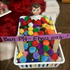 "120 Likes, 5 Comments - Lynda (@homeschooling_fun_with_lynda) on Instagram: ""Another great use for those million pompoms we all have!!!lol #elf #elfontheshelf #ballpit"""