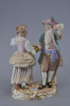 19th century Meissen porcelain figural group of a wedded couple dancing. 6-1/2